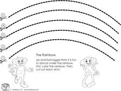 Preschool curved line scissors skills worksheet