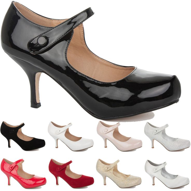 WOMENS LADIES LOW MID KITTEN HEEL STRAP WORK CASUAL SMART COURT SHOES PUMPS SIZE #Branded #CourtShoes