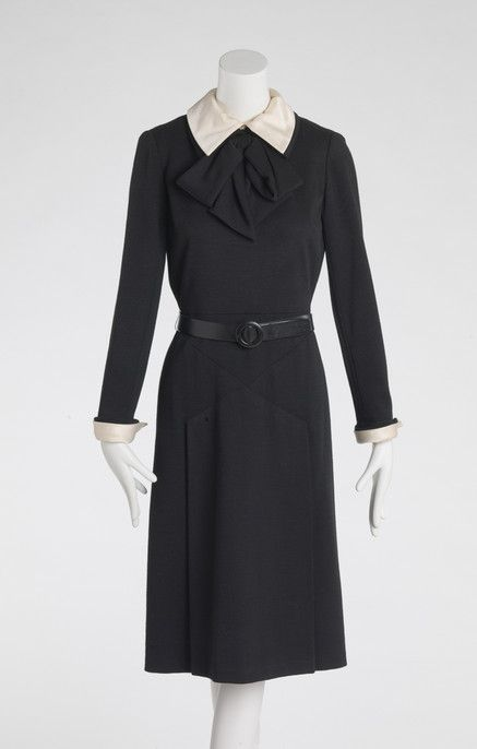 RISD Museum: Bill Blass, designer, American, 1922-2002; Bill Blass Limited, design house, American. Dress, 1960's. Wool knit with silk cuffs and collar. Length: 111.8 cm (44 inches). Gift of Mrs. Peter Farago 1986.163.2