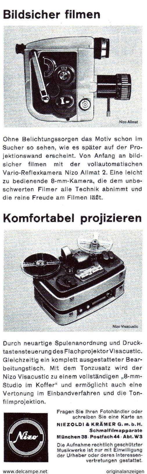 Werbung - Original-Werbung/Anzeige 1962 - NIZO ALLMAT 2 - 8-mm-FILMKAMERA - ca. 65 x 220 mm