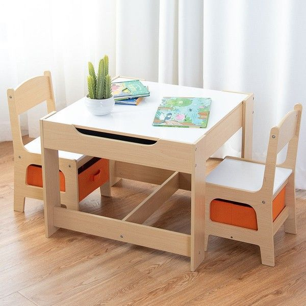 Kids Table Chairs Set W Storage Boxes Baby Toddler Furniture