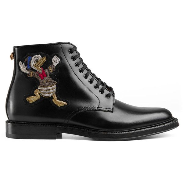 Gucci Leather Boot With Appliqués (4340 TND) ❤ liked on Polyvore featuring men's fashion, men's shoes, men's boots, black, mens side zipper boots, mens leather ankle boots, mens leather sole boots, mens leather shoes and mens black leather boots