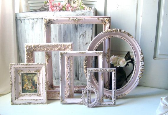 Pink Vintage Ornate Frames, Light Pink and Gold Open Nursery Frame Set, Pastel Pink Nursery Decor, Shabby Chic Oval Frames, Gift Ideas  This