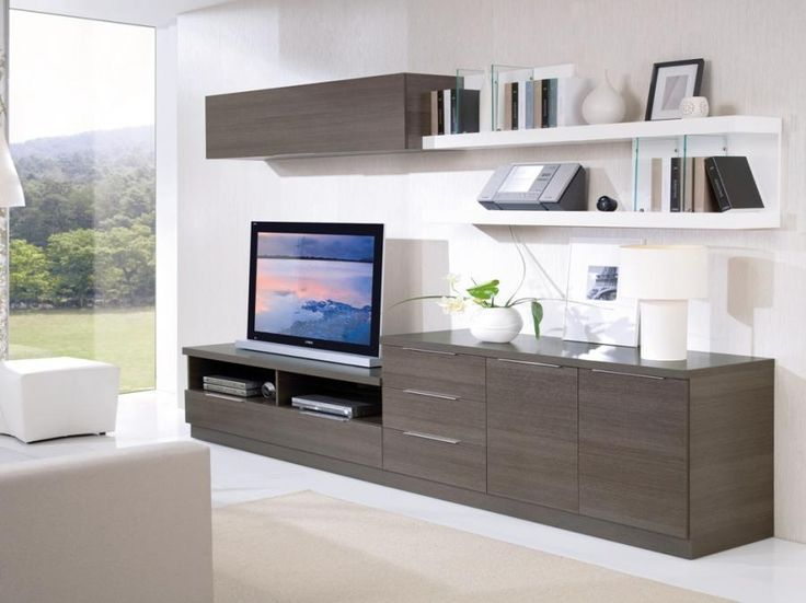 Floating shelves tv - rather like the look of this, if the floor-standing items could be filing cabinets it may well fit the bill.