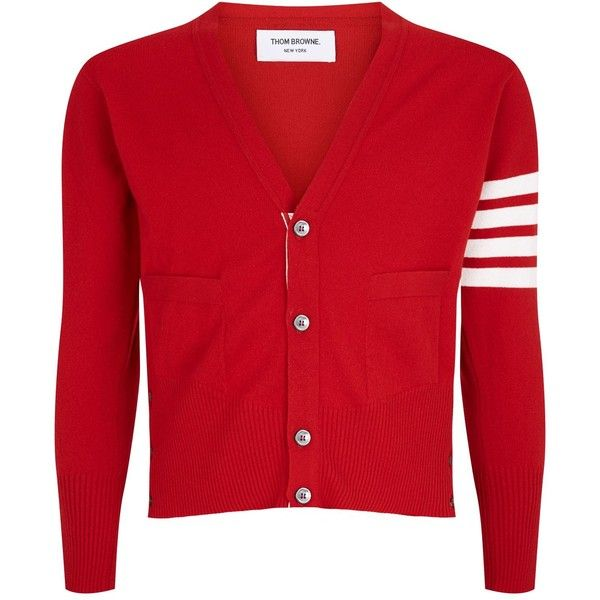 Thom Browne Classic V-Neck Stripe Cardigan (32.145 ARS) ❤ liked on Polyvore featuring men's fashion, men's clothing, men's sweaters, mens red sweater, mens red v neck sweater, mens red cardigan sweater, mens cashmere sweaters and mens cardigan sweaters