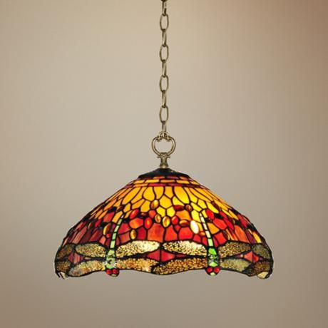 "$330 Reves Dragonfly 16"" Wide Dale Tiffany Pendant Light"