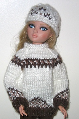 Hand knit ski sweater &  hat + slacks