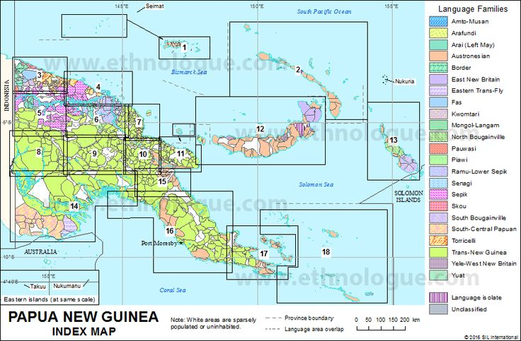 Detailed Papua New Guinea Language Family Map