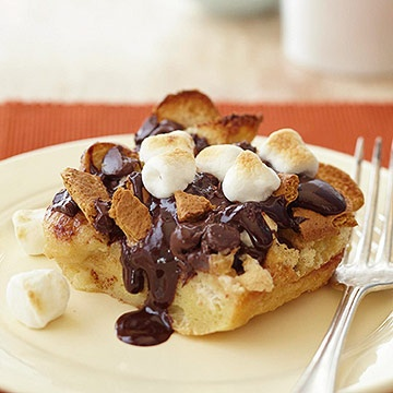 Sooooo delightfully awesome looking: Campfire S'mores Bread Pudding. # ...