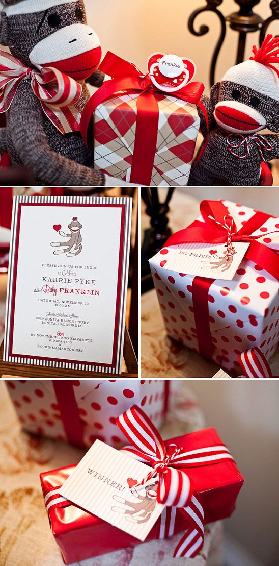I LOVE the sock monkey baby shower theme... maybe can use it some day for someone.
