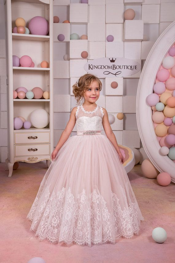 Ivory and Blush Pink Flower Girl Dress -  Birthday Wedding Party Holiday Bridesmaid Flower Girl Ivory and Blush pink Tulle Lace Dress14-1089