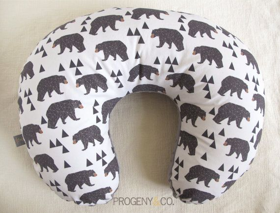 """Boppy Cover in """"Geometric Bears"""", Woodland, Rustic, Forest, Gender Neutral $40.00"""