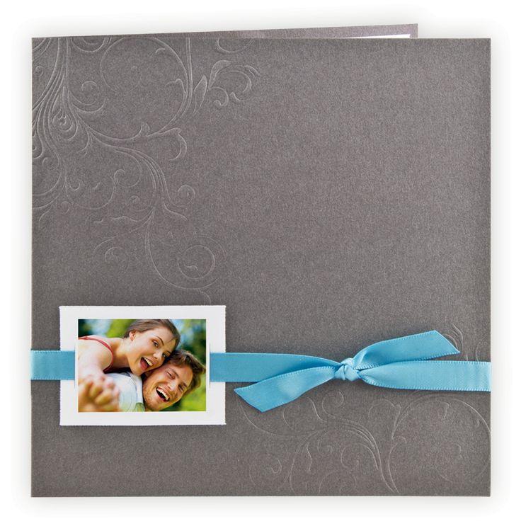 Faire-part mariage chic : Pochette arabesques relief gris/satin turquoise