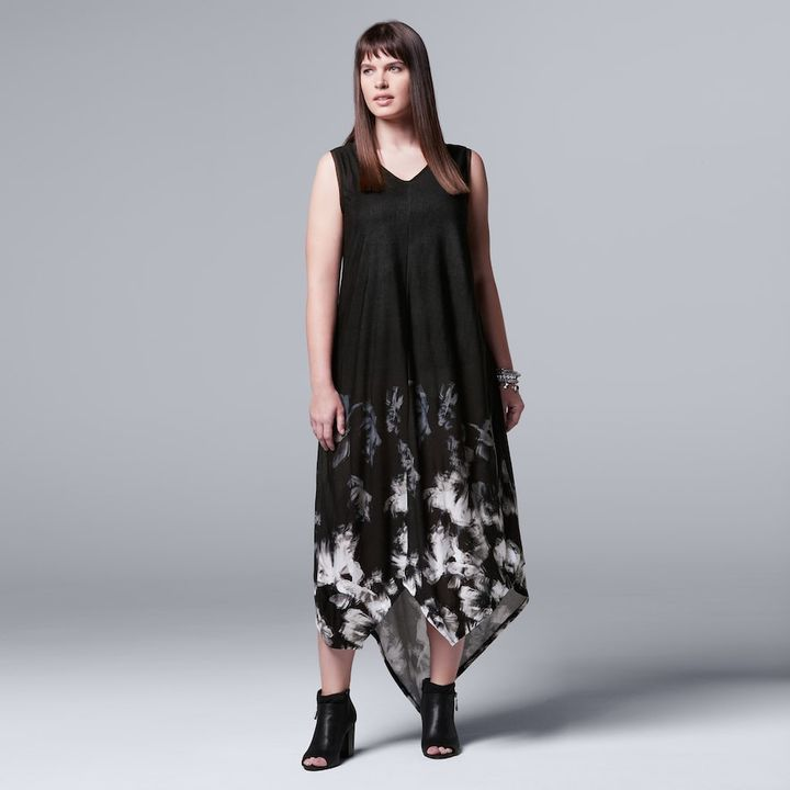 Simply Vera Vera Wang Plus Size Simply Vera Vera Wang Floral Asymmetrical Tank Dress