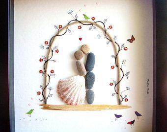 Unieke bruiloft cadeau-bruiloft Arch - bruid en bruidegom - unieke betrokkenheid Gift-bruids douche - echtpaar Gift-bruiloft Pebble Art-Pebble Art∣