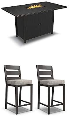 Amazon.com   Ashley Furniture Signature Design - Perrymount 5-Piece Outdoor  Set - Fire Pit Bar Table   4 Barstools with Cushions - Dark Brown   Garden    ... 06d5c0cd9d