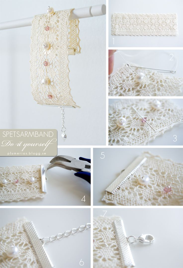 DIY Lace and beads bracelet