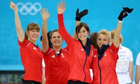 Well done Team GB! Great Britain's Claire Hamilton, Vicki Adams, Eve Muirhead and Anna Sloan celebrate winning bronze against Switzerland.