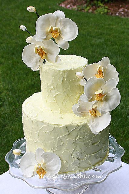 Gum Paste Orchids on Textured Buttercream (from a recent video on MyCakeSchool.com)