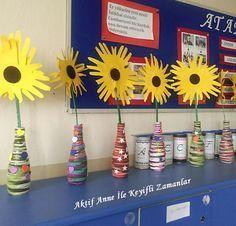 art ideas art stuff artwork 3.grade sanat etkinlikleri 3.sınıf görsel sanatlar yarn glass bottle flower