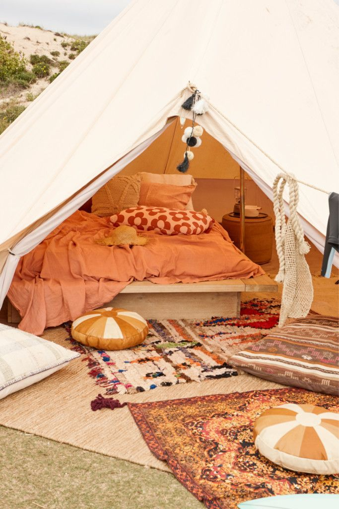 5m diameter Bell Tent, Surf trip, girlfriends, camping, glamping, surf safari, natural canvas tent, Real Living Magazine, Bell Tent, June 2017 Issue (Festival Camping Ideas)