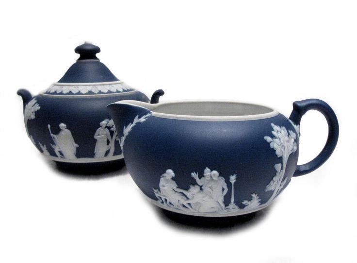 Wedgwood Jasperware Dark Blue Creamer Pitcher Amp Sugar Bowl From Woodstock Antiques Woodstock
