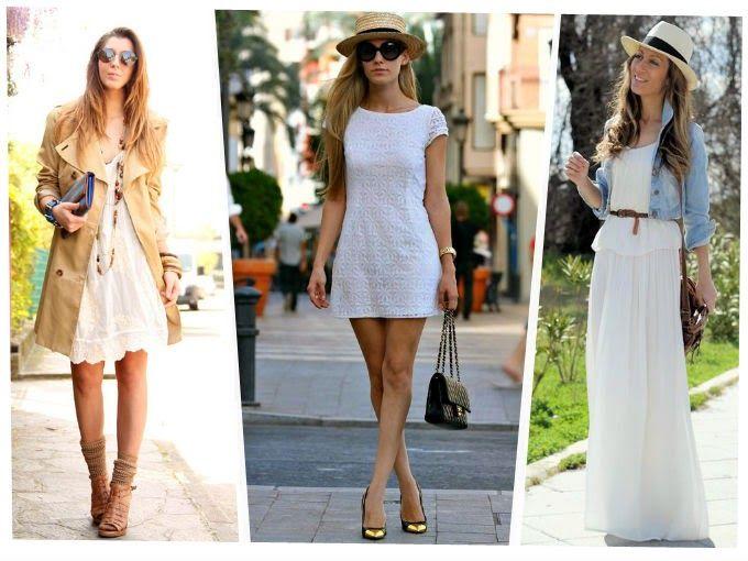 """Look white:   Este verano al blanco hay que darle un """"apartado"""" especial, ya que, es el absoluto triunfador de la temporada. Lo encontrarás en todas las prendas: camisas, tops, pantalones, vestidos, faldas, sandalias, zapatos... este color vuelve a ser la sensación del verano, complementándolo con otros colores o apostando por el total look white."""
