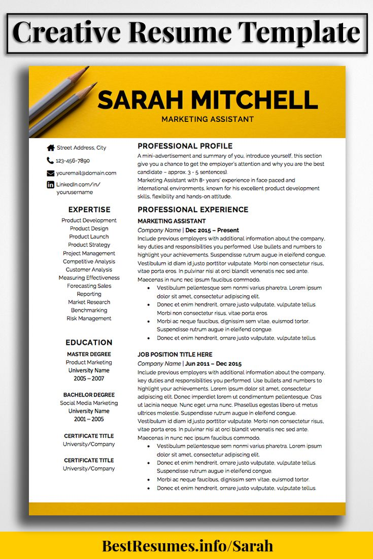 What Is A Good Resume Title Resume Template Sarah Mitchell  Bestresumes On Etsy .