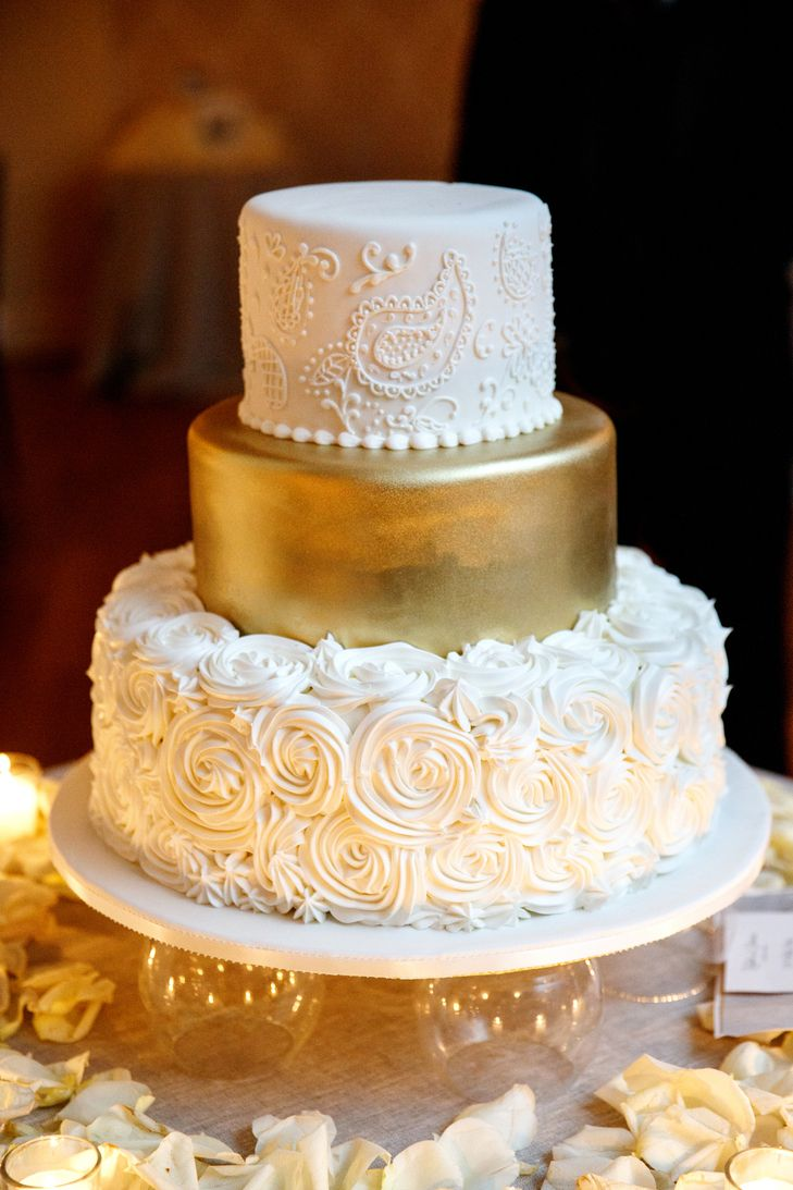Rosette, Gold and Paisley Wedding Cake | Modern Wedding Photography | L. Marie Events