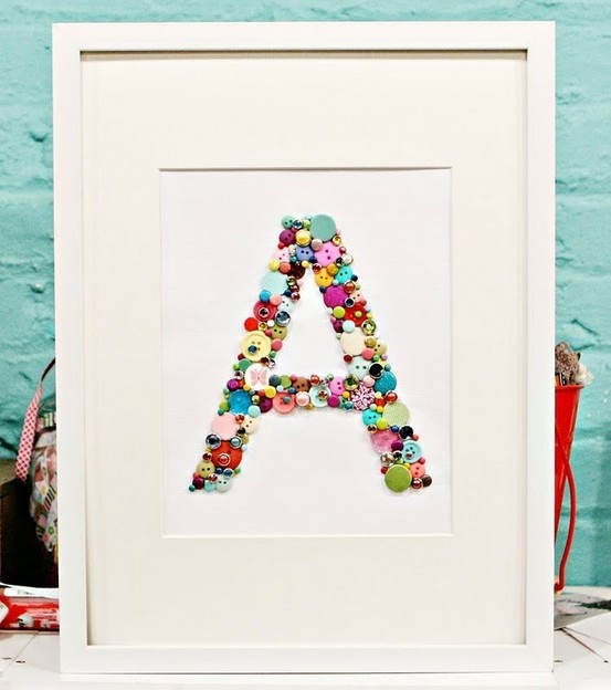 Button buttonChild Room, Buttons Crafts, Buttons Letters, For Kids, Gift Ideas, Buttons Art, Kids Room, Girls Room, Baby Room