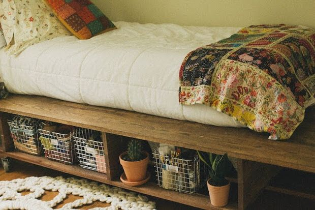 Great idea - Platform bed with storage space. Casters and twin bed mattress give it many options. Could move from room to room - could use for day bed/reading nook. could be great for FK in and out.