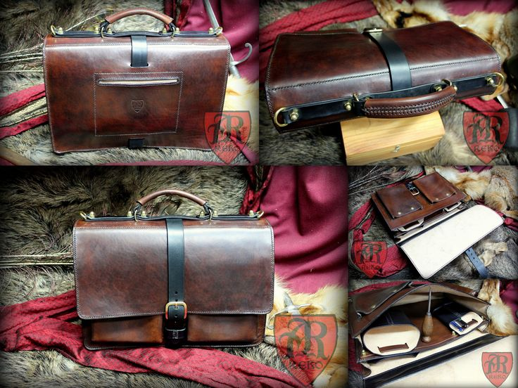 Leather briefcase hand sew by Pracownia REKO www.facebook.com/pkk.reko
