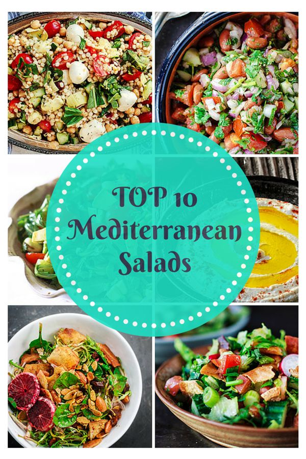 Top 10 Mediterranean Salad Recipes | The Mediterranean Dish. Healthy, mouth-watering salads with authentic Mediterranean flavors. There is something for everyone on this list! Easy step-by-step photos with each recipe!