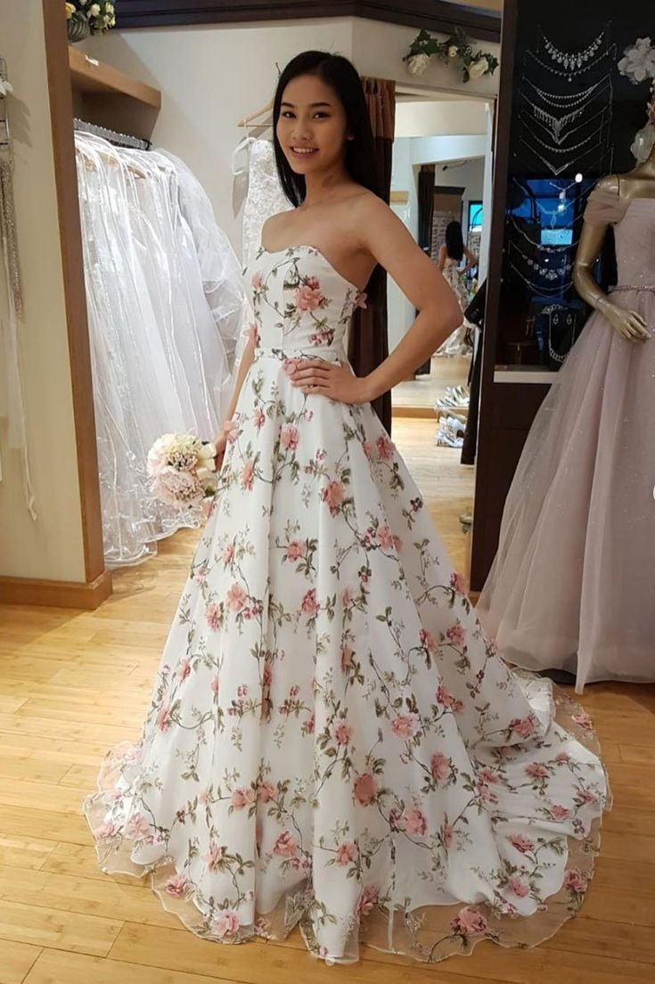 Strapless White Floral Tulle Long A Line Prom Dress Evening Dress