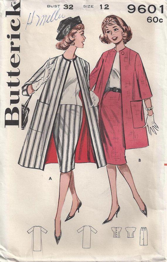 Dos boutonné Encolule Cap manches encolure profonde gaine Slim jupe Cardigan manteau taille 12 utilisé couture Vintage patron Butterick 9601