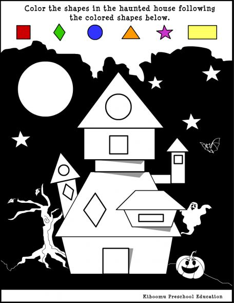 Halloween worksheet about shapes