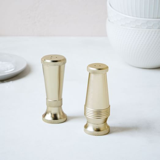 Sculpted Metal Salt + Pepper Shaker Set