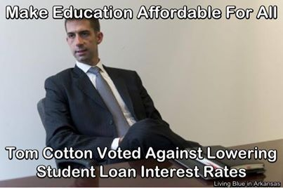 Arkansas  Tom Cotton voted against lowering studen loan interest rates