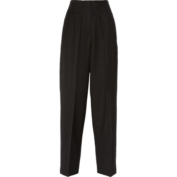 Wool-gabardine wide-leg pants (13.680 RUB) ❤ liked on Polyvore featuring pants, bottoms, trousers, black, bukser, wool trousers, woolen pants, gabardine trousers, wide-leg trousers and wool wide leg trousers
