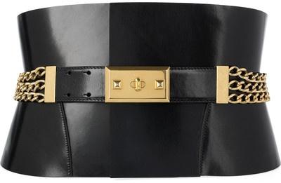 Alexander McQueen Chain-embellished leather belt