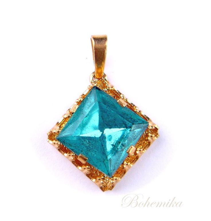 Vintage Antique Art Deco Czech Glass Pendant Turquoise Aquamarine Blue Gold Tone #Pendant