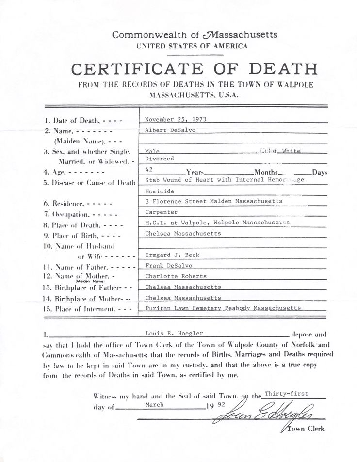 Facsimile death certificate of confessed (but disputed) Boston Strangler Albert DeSalvo. Handout from a Boston, Massachusetts ghost trolley tour. #GhostTour #Boston #Massachusetts #BostonStrangler #AlbertDeSalvo
