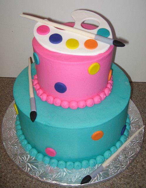 Bright Art Party Cake by cakegirlkc, via Flickr