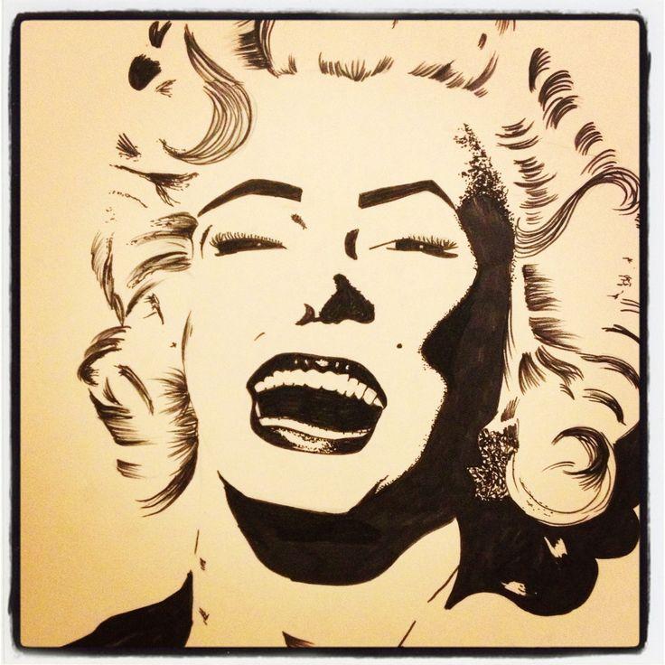 Marilyn Monroe, black and white acrylic