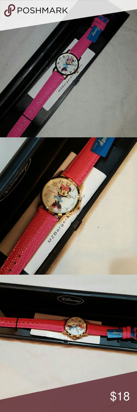 NEW Minnie Mouse watch Disney Watch Brand new in casw. Leather strap may need battery. Comes with instructions and warranty Disney Accessories Watches
