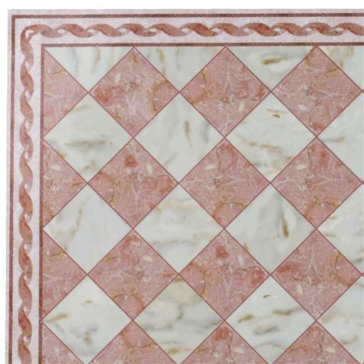 Pink Faux Marble Flooring Sheet With Border