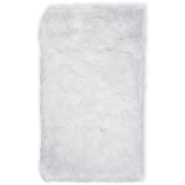 "Nicole Miller 30"" x 47"" Aspen Faux Fur Rug ($30) ❤ liked on Polyvore featuring home, rugs, white, nicole miller, white rugs, white faux fur area rug, nicole miller rugs and white faux fur rug"