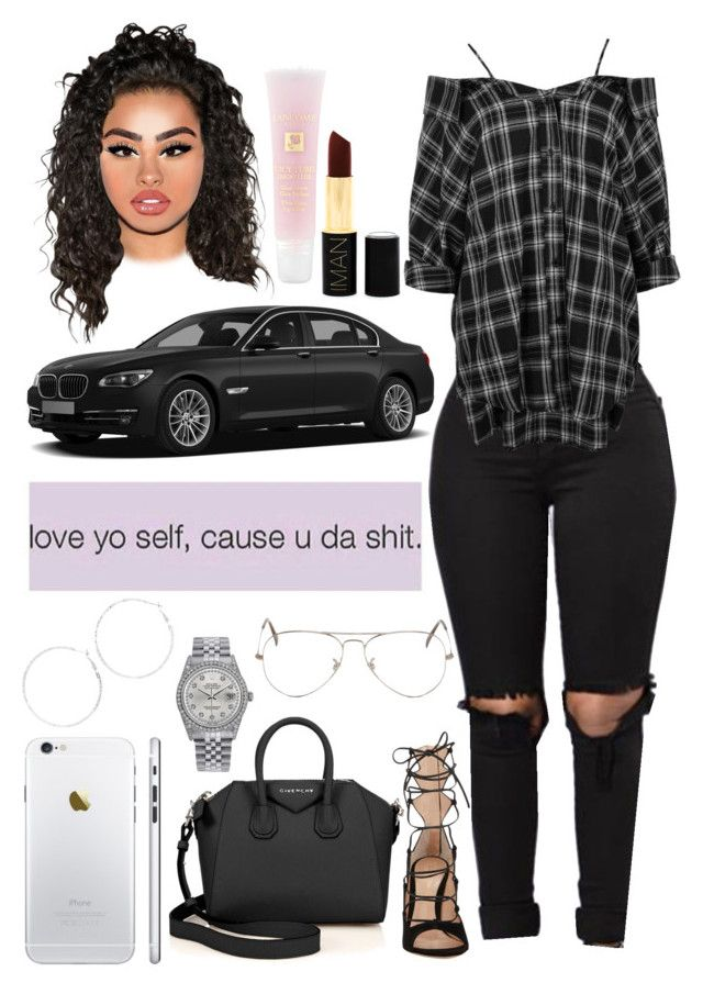 """""""You Got It Bad"""" by swaavvyya on Polyvore featuring Boohoo, Gianvito Rossi, Ray-Ban, Arizona, Givenchy, Rolex, Lancôme and Iman"""