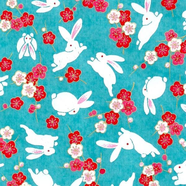 Papier Japonais / Sérigraphie lapin et fleur sur fond turquoise - Adeline Klam