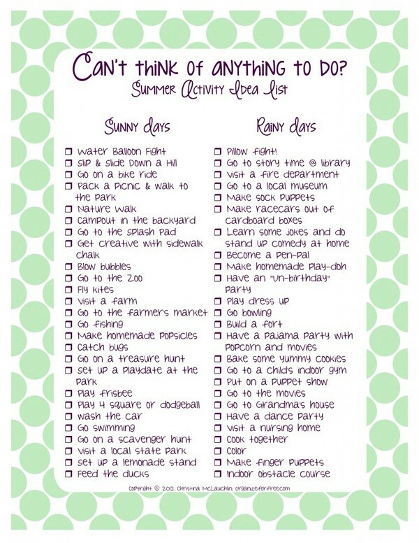 Summer activity idea list